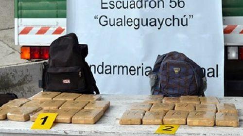 Viajaban con 21 kilos de marihuana