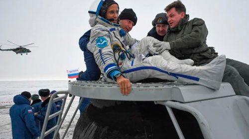 Dos astronautas y un cosmonauta regresaron a la Tierra después de 168 días en el espacio