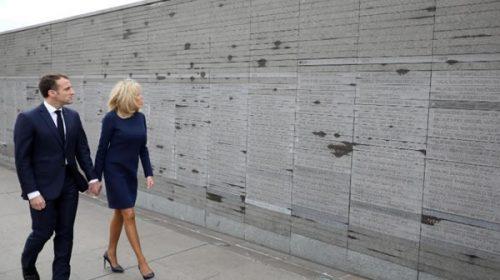 El francés Macron y el surcoreano Moon Jae-in visitaron el Parque de la Memoria